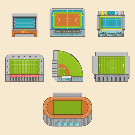baseball stadium: Icon set of sport stadiums building. Vector Illustration.