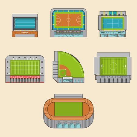 baseball field: Icon set of sport stadiums building. Vector Illustration.