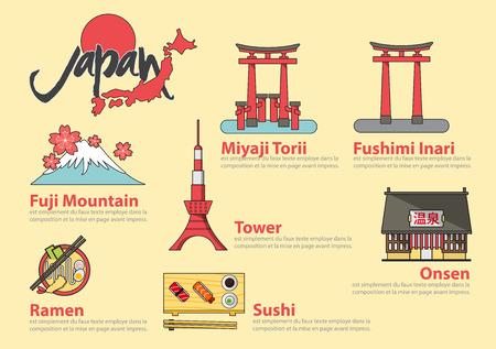 japon: Ensemble de l'icône de la ligne plat et la conception des éléments infographiques. Les lettres signifient japonais Onsen chaude Voyage spring.Concept Japon. Illustration Vecteur Illustration