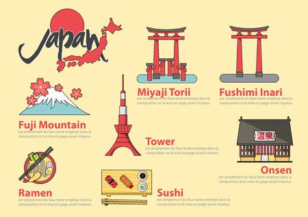 fuji: Set of flat line icon and infographic element design . The Japanese letters mean Onsen hot spring.Concept Japan travel.  Vector Illustration