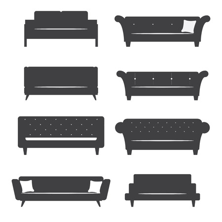 Flat design  icon set of silhouette furniture chair and sofa. Vector. Illustration.