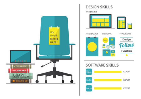 graphic designers: Flat design of job hiring for graphic designer. Wording We Need Designer on chair. Resume and infographic element. Vector Illustration. Illustration