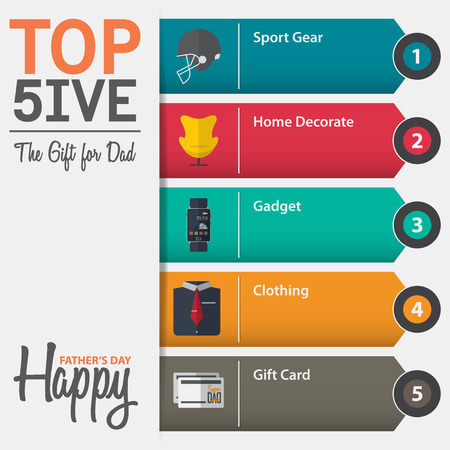 Infographic of top five the gift for dad for Fathers Day in flat design. Vector Illustration.