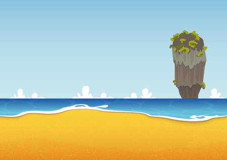 Thailand beach seascape with sea and sand texture. Background for summer tropical poster. Vector Illustration Иллюстрация
