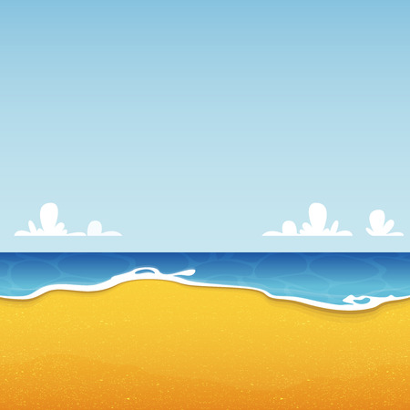 sand beach: Beach seascape with sea and sand texture. Background for summer tropical poster. Vector Illustration Illustration