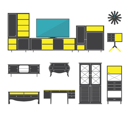 console table: Interior and furniture icons set in flat design. Vector Illustration