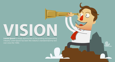 Businessman in a white shirt and red tie standing on top of the mountain and looks through a telescope . A symbol of leadership vision. Cartoon character. Vector Illustration