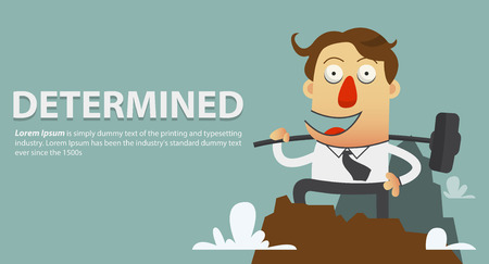 determined: The determined businessmen who break the barrier of fear with hammer. Cartoon character. Vector Illustration. Illustration