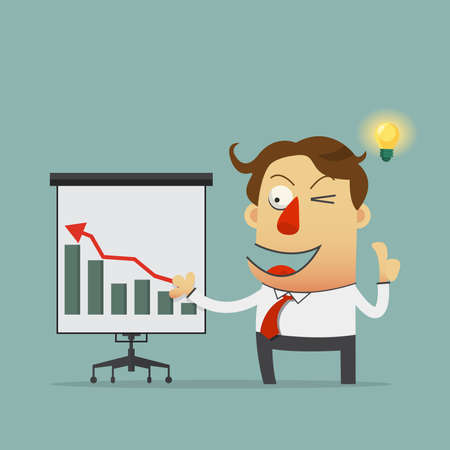 the reporting: Young businessman reporting on presentation board with growth up graph. Cartoon character. Vector Illustration