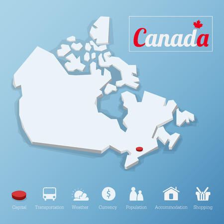 Ottawa city, Canada map. Including tourism icon in flat design for modern infographic, Vector, Illustration