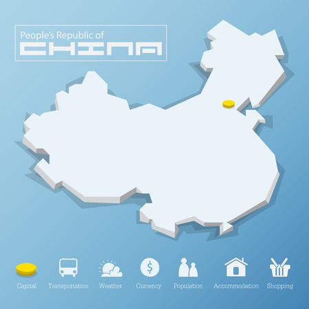 china business: Beijing city, People Republic of China map. Including tourism icon in flat design for modern infographic, Vector, Illustration