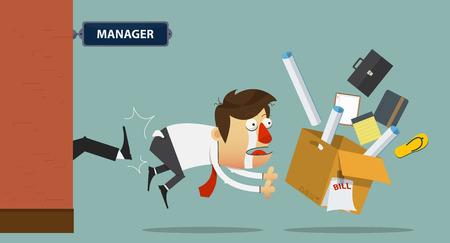 patron: Hombre de negocios de la tristeza de ser expulsado de la puerta por su jefe. Personaje animado. Ilustración vectorial