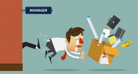 resign: Sadness businessman being kicked out of the door by his boss.  Cartoon character. Vector Illustration