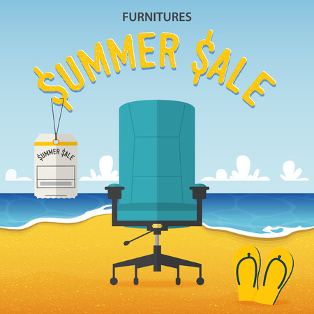 Flat design of office chair on beach and sea background in furniture summer sale concept .  Vector Illustration