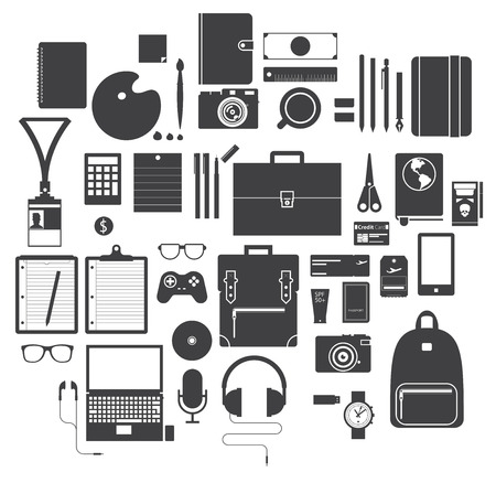 Isolated Icon Set of Office Equipment, Travel Gadget and Hobby in Flat Design, Vector