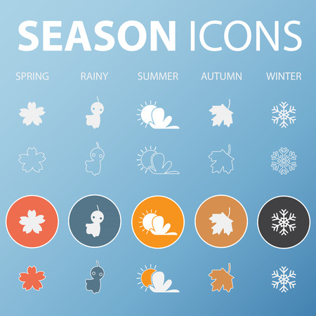 season: Set of season icons in flat design outline and long shadow .  Vector  Illustration