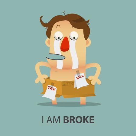 shirtless: Shirtless broke Man with cardboard box. Cartoon character. Vector Illustration