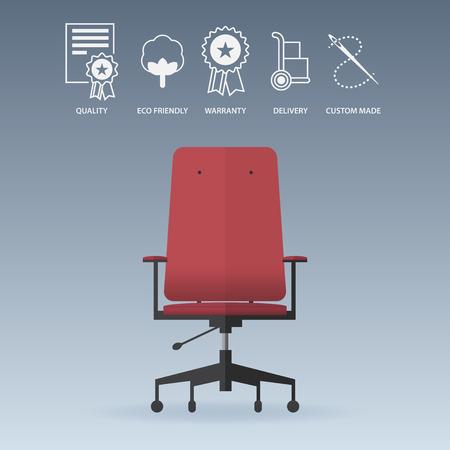 cadeira: Cadeira vermelha do escritório em design plano com ícones de serviço estabelecidos. Ilustração vetor