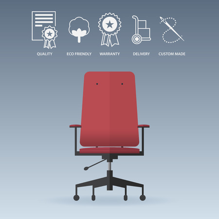 Red office chair in flat design with service icons set. Vector Illustration
