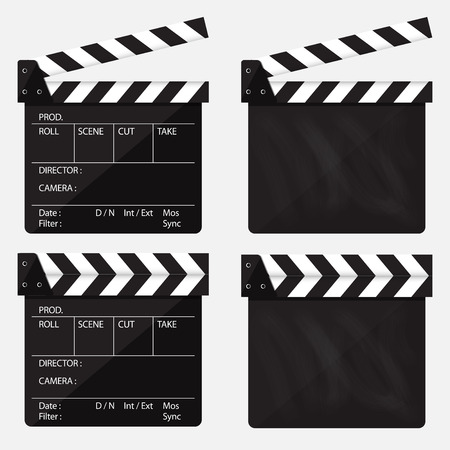 Set of movie clapperboard. Blank movie clapperboard.  Vector Illustration