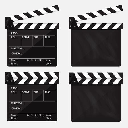 Conjunto de claqueta de cine. Claqueta de cine en blanco. Ilustración vectorial