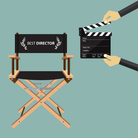 movie director: Director chair in flat design with movie clapperboard. Vector Illustration