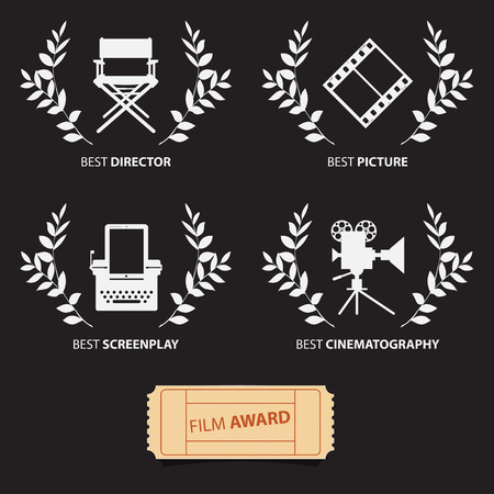 films: Film awards and wreaths on black background.   Vector Illustration