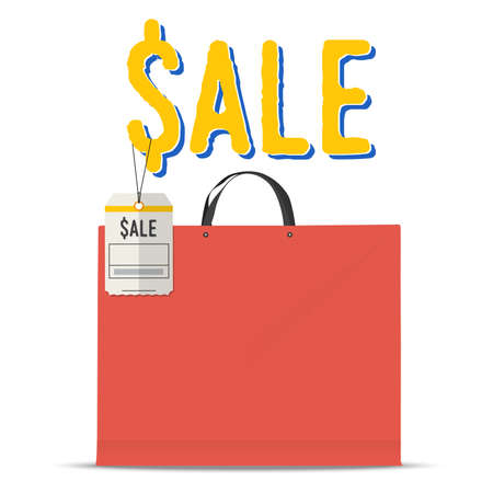 paper tag: Blank red shopping bag with paper price tag.  Vector Illustration Illustration