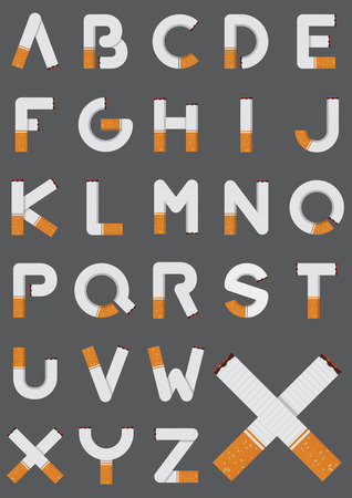 stop smoking: Tobacco font.  Cigarette alphabet. Smoking letters.  Vector Illustration Illustration