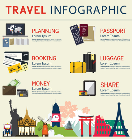 旅遊: 信息圖表對旅遊業務的概念。信息圖表元素。矢量插圖