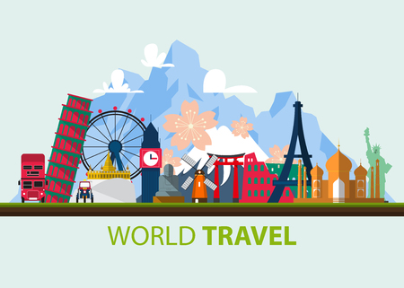 Famous world landmark icons in flat design. Vector  Illustration