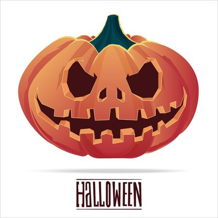 Pumpkin with an evil expression on his face for Halloween.  31 October.  Vector Illustration