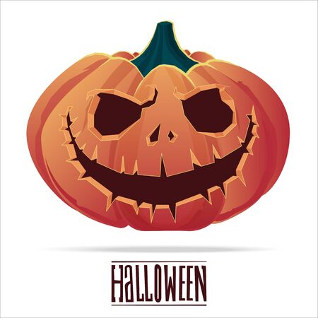 31: Pumpkin with an evil expression on his face for Halloween.  31 October.  Vector Illustration