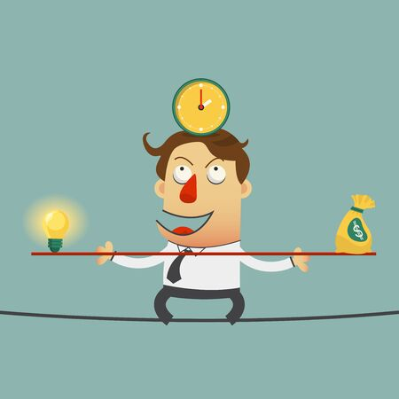 inconstant: Business man balancing on the wire with ideas money and time. cartoon character. Vector   Illustration Illustration