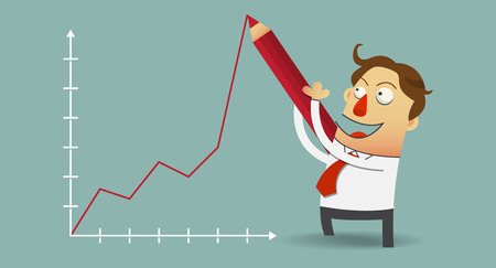 writes: Business man drawing positive growth chart with red pencil on wall. Cartoon character in flat design. Vector   Illustration