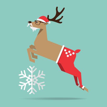 december holidays: Flat design of Christmas reindeer in jump action. Cartoon Character. Vector Illustration