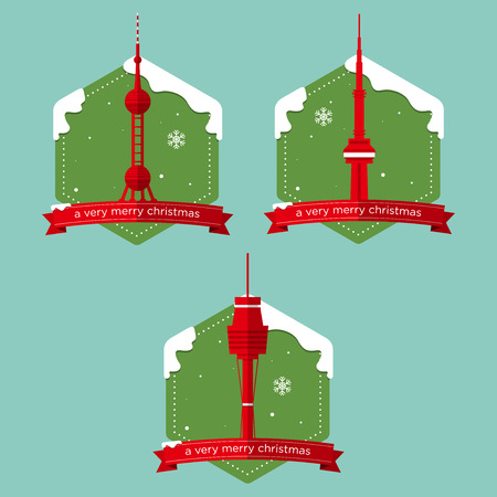 shanghai: Set of famous world landmark buildings icons  with Christmas badge in flat design . Vector Illustration Illustration