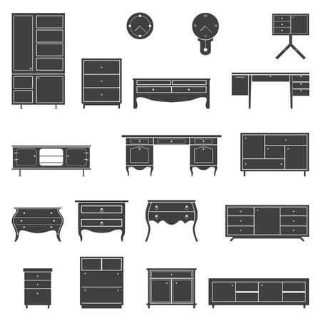 Set of furniture icons in flat design. Vector Illustration Ilustração