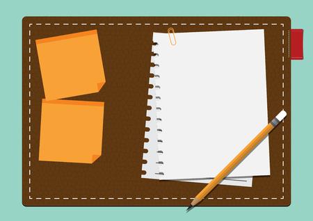 papel de notas: Libro Blanco en blanco y palo nota amarilla a bordo de cuero en diseño plano. Ilustración vectorial
