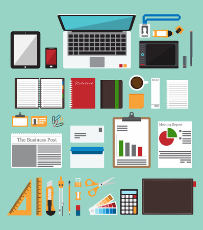 Office items: Set of office equipment in flat design. Icon  collection of business work flow items . Vector  Illustration