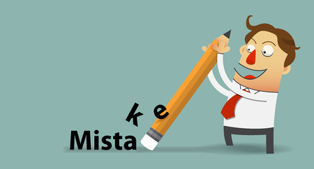 mistake: Businessman removing mistake with his eraser  in flat design  . Vector  Illustration Illustration