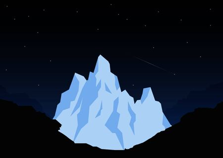 Great Himalayas mountain snow peak on night scene. Background landscape. Vector Illustration