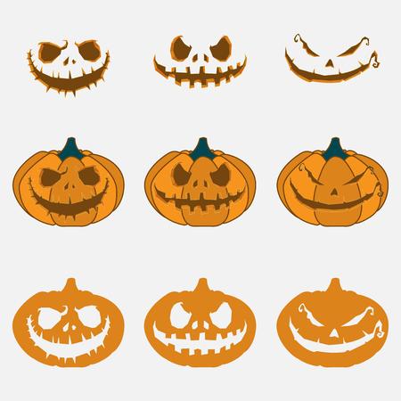 calabaza: Calabaza con una expresión del mal en su cara para Halloween. 31 de octubre. Ilustración vectorial