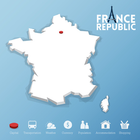 paris france: Paris city, Republic of France map. Including tourism icon in flat design for modern infographic, Vector, Illustration
