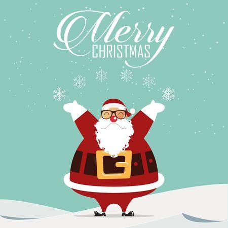 christmas snow scene: Happy santa claus sprinkle snowflake in Christmas scene. Vector Illustration