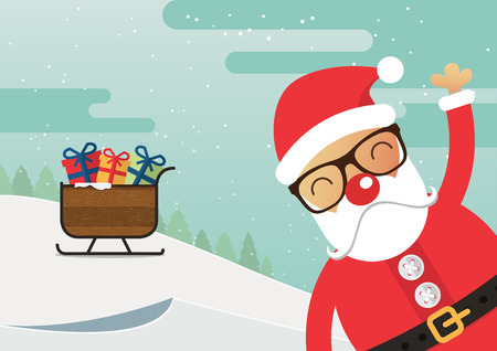 red nose: Santa Claus red nose and santa sleigh with merry christmas landscape. Vector Illustration.