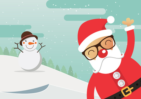 cartoon hat: Santa Claus red nose and snowman with merry christmas landscape. Vector Illustration.