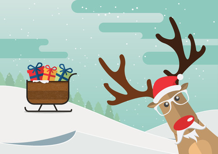 Christmas reindeer red nose and santa claus sleigh in winter landscape. Vector Illustration.
