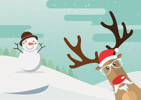 red snowflake background: Santa Claus red nose and snowman with merry christmas landscape. Vector Illustration.