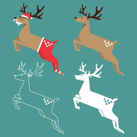 Set of Christmas reindeer in flat design. Vector Illustration.